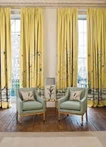 Asian Curtains Drapes Elegant Living Room High Ceiling Yellow Asian Birds Fab