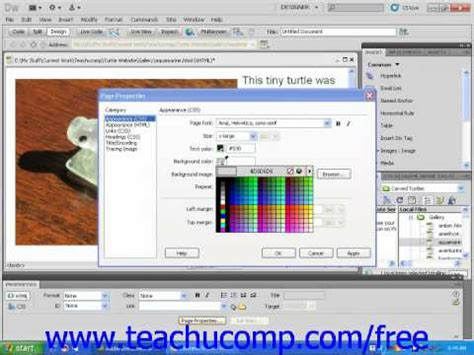 dreamweaver cs5 tutorial changing a web page s background
