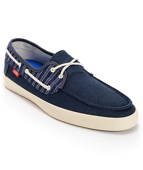 vans chauffeur navy blue antique white boat skate shoes