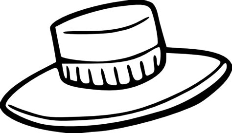 straw hat coloring page hat outline clip art at clker com vector clip art online