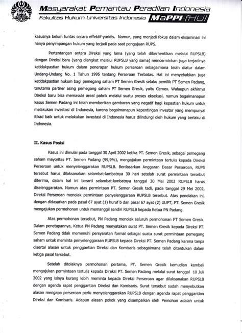 hasil eksaminasi dalam perkara permohonan penyelenggaraan rapat umum