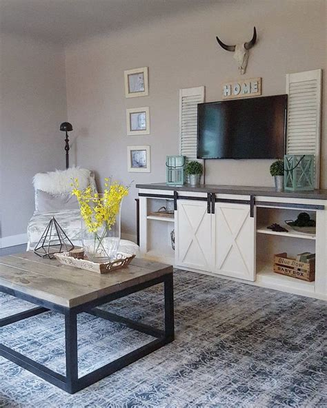 Farmhouse Industrial Country Living Room Diy Console Table In Living Room