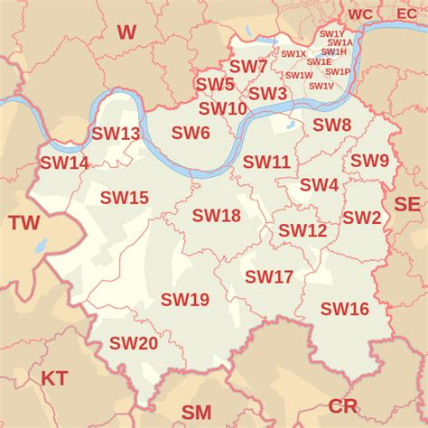 Postcode Map Of South West London