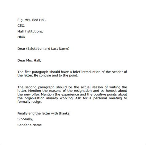 letter layout in word sle resignation letter format 9 download free