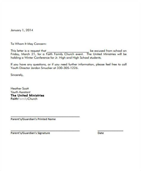 sample formal excuse letter templates ms