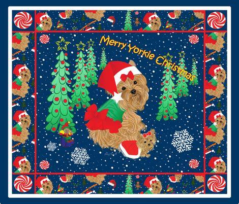 yorkie quilt yorkie quilt panel fabric sherry savannah spoonflower