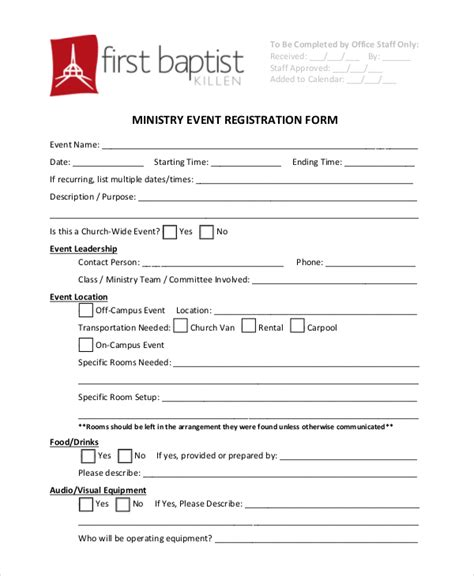 church event registration form template templates