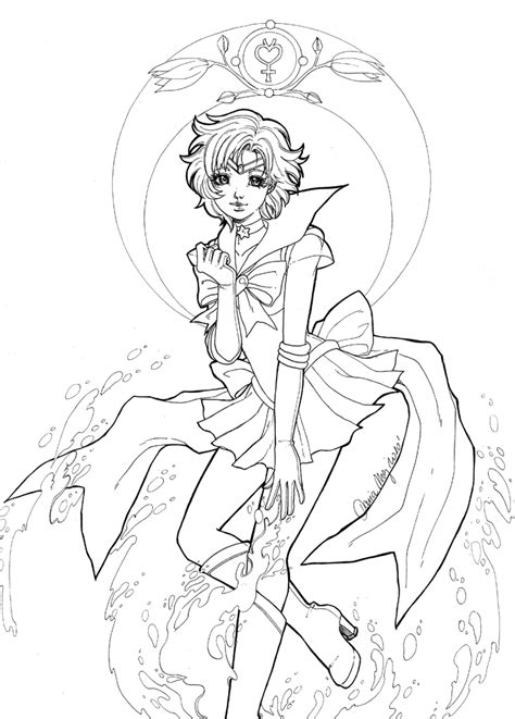 sailor mercury lineart by dar chan on deviantart