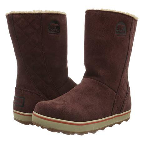 fleece lined boots sorel glacy boot nl1975 redwood slip on fleece lined