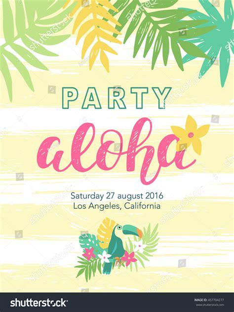 Tropical Beach Party Banner Template Aloha Stock Vector 457704277 Shutterstock Aloha Banner Template