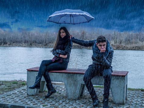 love girl boy rain umbrella wallpaperscom