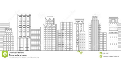 coloring book new york city seamless border of line skyscrapers black and white stock