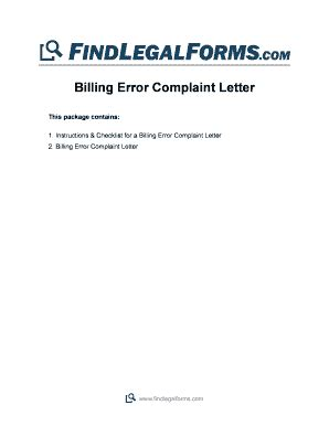 Complaint Letter About Billing Error Complaint Letter Sle Pdf Forms And Templates Fillable