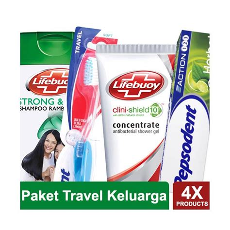 Pasta Gigi Pepsodent 123 jual paket travel keluarga shoo lifebuoy strong shiny sabun lifebuoy clini shield gel