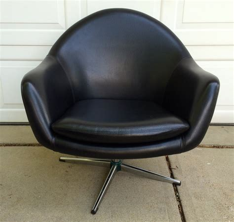 Pod Chair by Mid Century Black Overman Swivel Pod Chair By