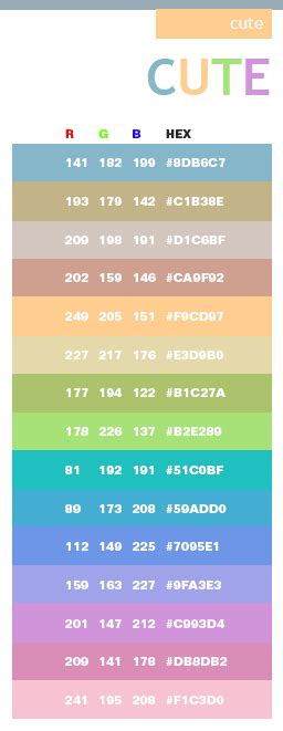 cute colors cute color schemes color combinations color palettes for