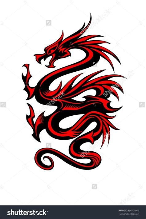 red dragon tattoo black and tribal vector illustration