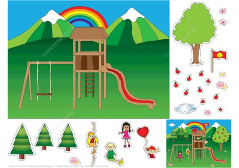 Playground Paper Collage Free Printable Papercraft Templates Playground Template