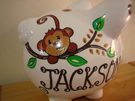 monkey piggy bank personalized large piggy bank monkey newborn baby shower