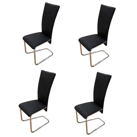4 Black Dining Chairs 4 Black Artificial Leather Dining Chairs Vidaxl