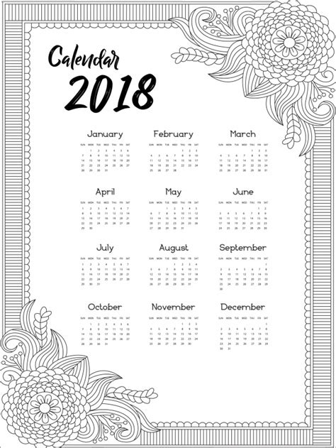 Calendar 2018 Vector Design Calendar 2018 Ornamental Design Vector Free