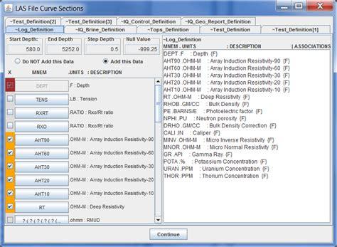 file format las help load previous dst session log ascii standard las