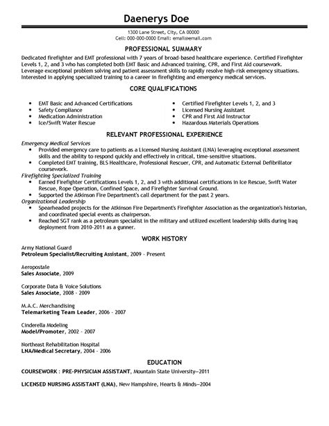 Professional Emergency Medical Technician Templates To Showcase Your Talent Myperfectresume Free Emt Resume Templates