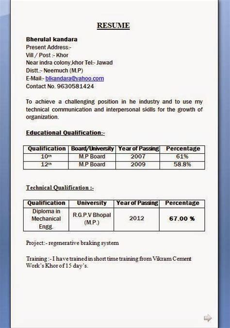 Diploma Resume Exle by Mechanical Diploma Resume Format For Freshers