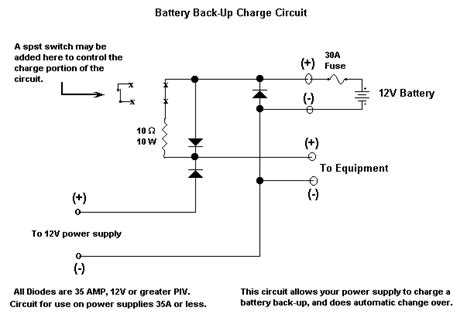 rectifier backup diodes 12v battery backup charging circuit