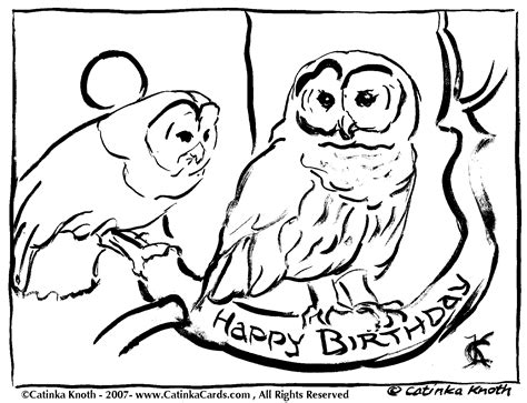 owl birthday coloring page c knotes