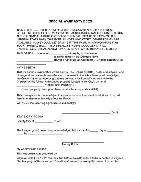 special warranty deed special warranty deed in word and pdf formats