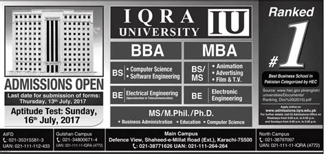 Mba In Iqra In Karachi by Iqra Karachi Admissions 2017