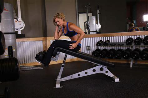 oblique bench decline oblique crunch exercise guide and video