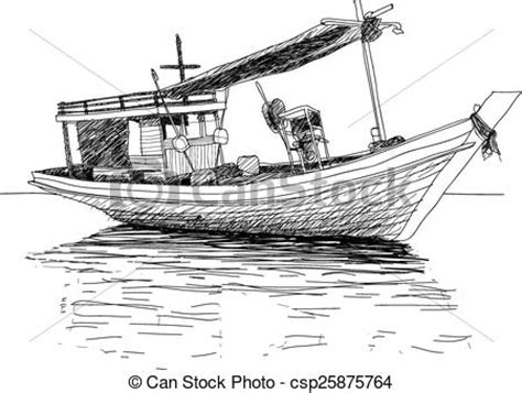 traditional boat drawing thai fishing boat used as a vehicle for finding fish in