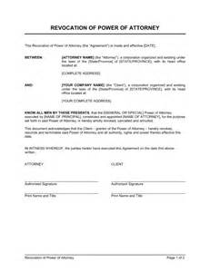 corporate power of attorney template revocation of power of attorney template sle form