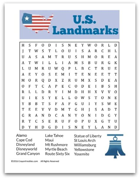 U S Search Crayon Freckles U S Landmarks Word Search For Free Printable