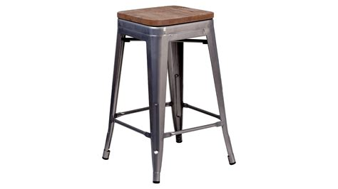 24 Inch High Stools by 24 Inch High Backless Clear Coated Metal Counter Height