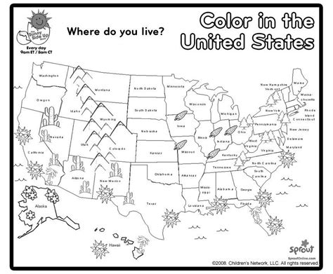 Printable Usa Map For Kindergarten | 95 map coloring pages for kindergarten free kids
