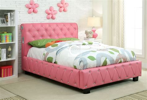 size pink leatherette platform bed w bluetooth speakers