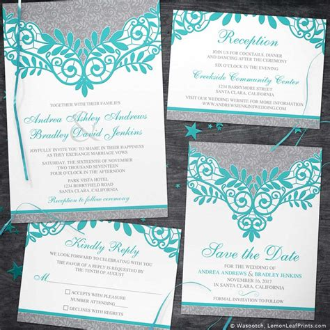 turquoise silver wedding invitation silver grey