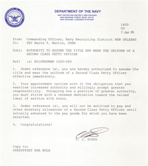 appointment letter for class appointment letter usn letter from commanding officer