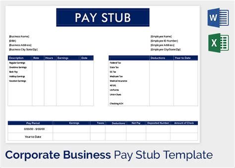 payroll stub template pdf pay stub template
