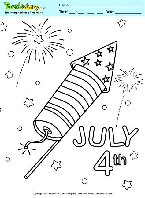 fourth of july coloring pages 4th of july fireworks coloring sheet turtle diary