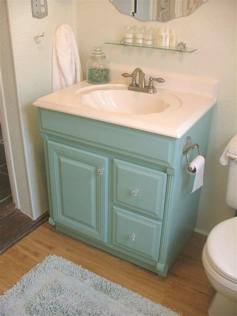 Painting A Bathroom Vanity Painted Aqua Bathroom Vanity Cottage