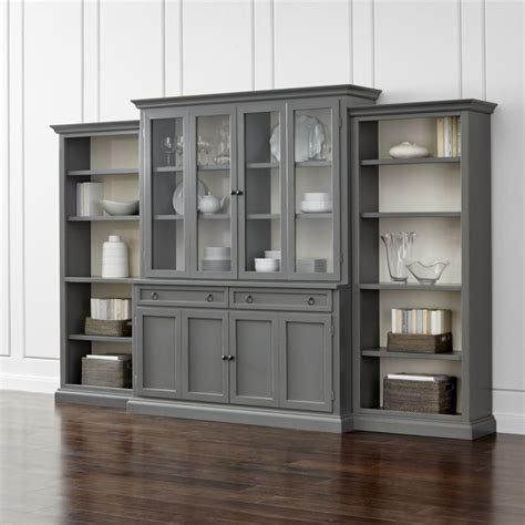 gray bookcase with doors cameo 4 piece grey glass door wall unit with open