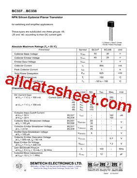 transistor bc337 datasheet bc337 datasheet pdf semtech electronics ltd
