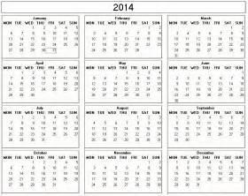 2014 annual calendar template 2014 julian annual calendar printable calendar template