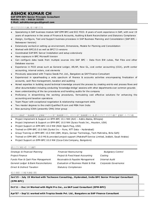 Picture Of Resume Sles by Sap Bpc Resume Sles 28 Images Sap Bpc Resume Sles
