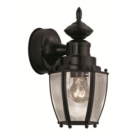 Motion Sensor Outdoor Lighting Reviews Shop Portfolio 11 75 In H Black Motion Activated Outdoor Wall Light At Lowes