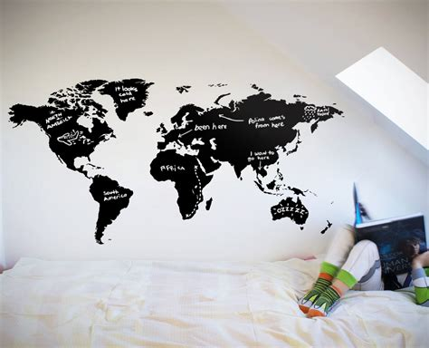 wall sticker map of the world world map chalkboard your decal shop nz designer wall